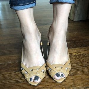 Miu Miu Prada peep toe wood wedge